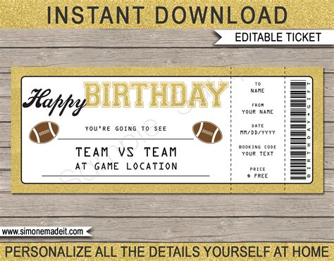 Printable Football Game Ticket Gift Surprise Birthday Gift Football Ticket Printable Football Ticket Template