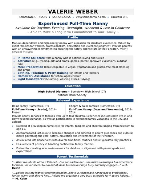 Nanny Resumes by Nanny Resume Resume Ideas
