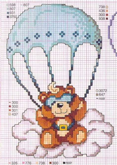 orsi cornici orsetto paracadute volare punto croce