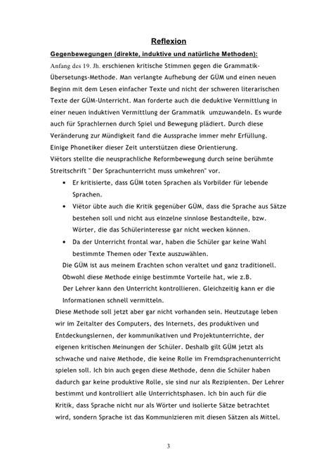 Reflexion Schreiben Muster grammatik uebersetzungsmethode