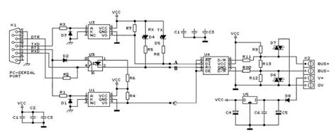 rs232 to rs485 converter circuit diagram gt circuits gt rs232 to rs485 converter circuit schematic