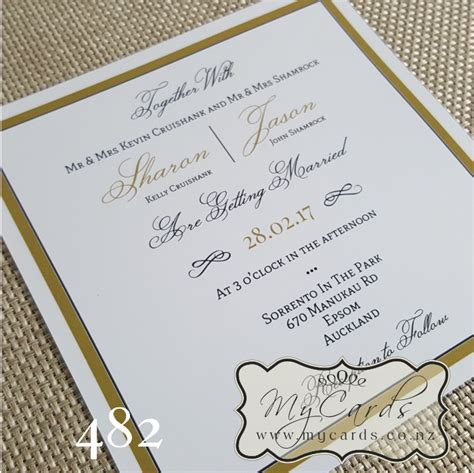 black and gold wedding invitations nz gold border square wedding invitation design 482