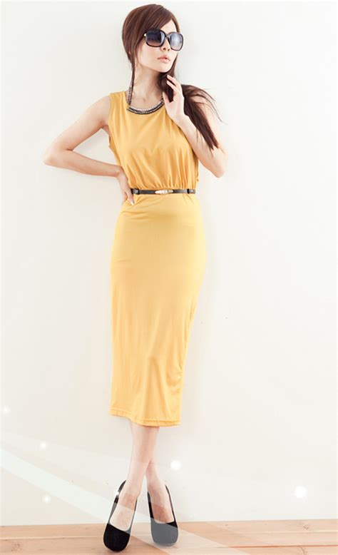 Tank Dress Mid Calf by Fashion Backless V Neck Tank Sleeveless Yellow Cotton Mid