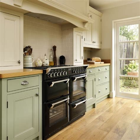green kitchens range cooker step inside this traditional muted green