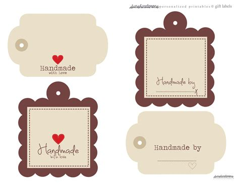 Handmade By Me Labels - free handmade digital labels for gifts