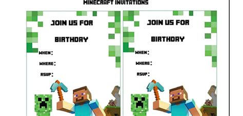 minecraft invitation template free free printable minecraft clipart clipground