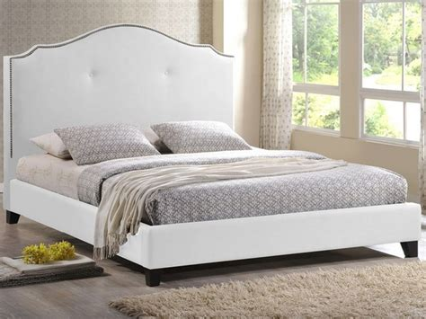 white upholstered headboard queen onyx modern marsha scalloped white modern bed with