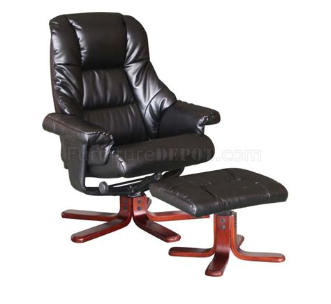 Modern Recliner Chairs Leather brown or taupe bonded leather modern recliner chair w ottoman