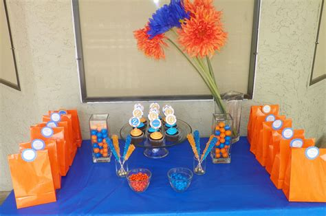 blue orange birthday around family table