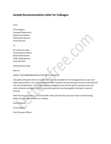 Reference Letter Colleague recommendation letter for colleague template and crafts