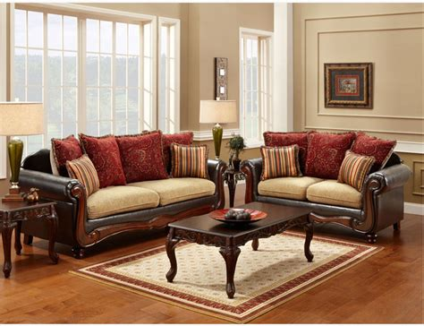 fabric and leather sofa sets traditional espresso fabric leather sofa loveseat pillows