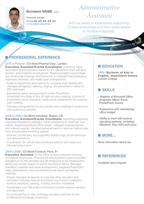 Curriculum Vitae Sjabloon Word 2010 Cv Template Word For A Student Http Webdesign14