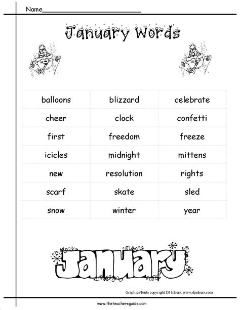 themes word list january lesson plans printouts crafts themes and holidays