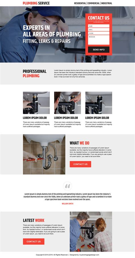 best landing pages to promote your plumbing services