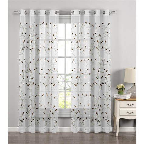 sage curtains drapes window elements sheer wavy leaves embroidered sheer sage