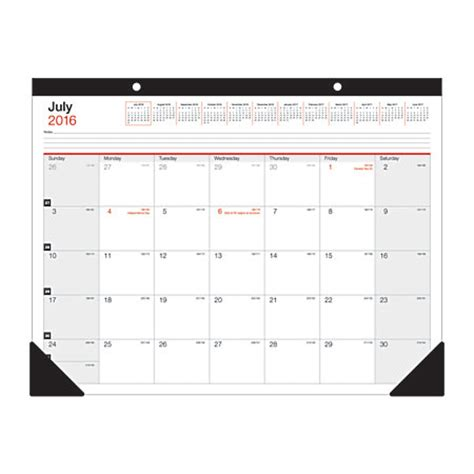 Office Depot Desk Calendar Office Depot Brand Large Monthly Desk Pad Calendar 22 X 17 30percent Recycled July 2016 To June