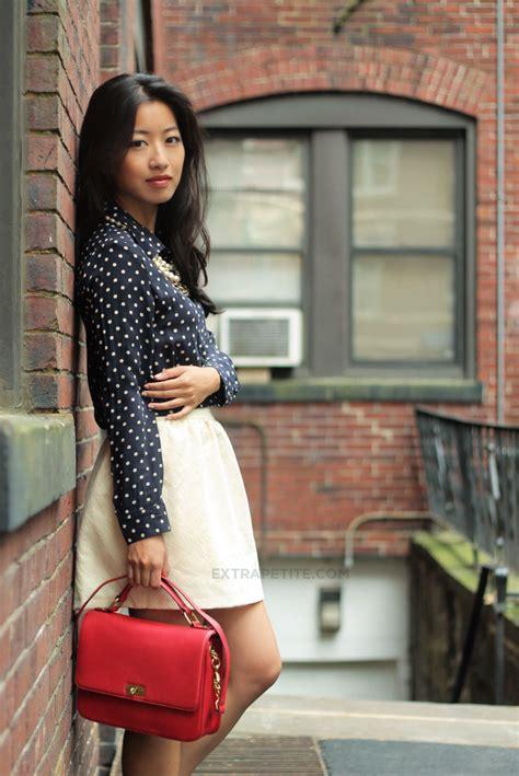 navy silk dots blouse wool bell mini skirt extra petite