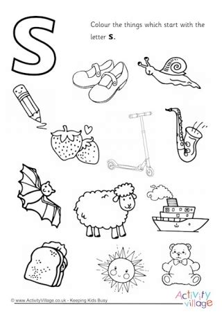 a color that starts with s initial letter colouring pages