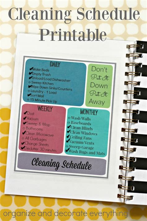 printable daily weekly monthly cleaning schedule cleaning schedule printable organize and decorate everything