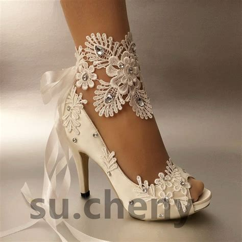Satin Heels Wedding by 3 Quot 4 Heel White Ivory Satin Lace Ribbon Open Toe Wedding