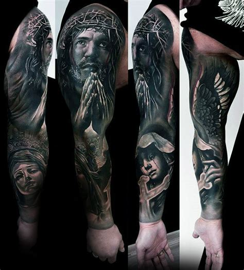 best religious sleeve tattoos amazing 60 catholic tattoos for religious design ideas
