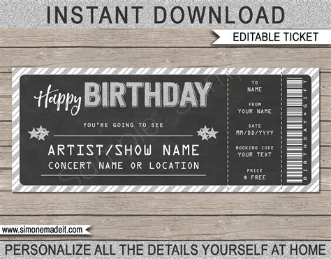 Concert Gift Tickets Template Printable Birthday Gift Voucher Editable Ticket Template Free