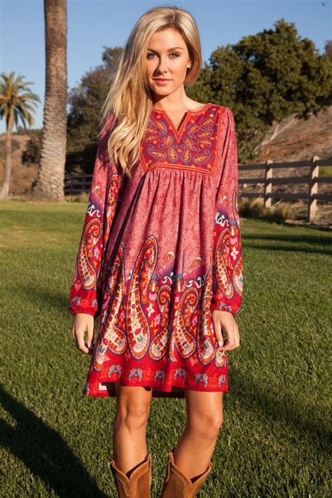 Promo Dress Retro Print Boho Bohemian Chic Coachella Lengan P Limited a bohemian dress this fashion season mybestfashions