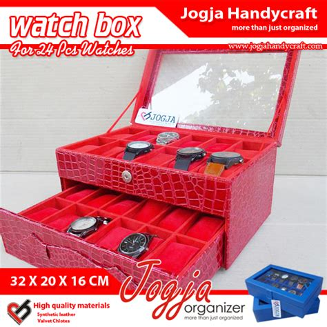 Kotak Jam Tangan Isi 24 Purple Tempat Jam Box Organizer croco box for 24 watches kotak tempat jam tangan isi 24