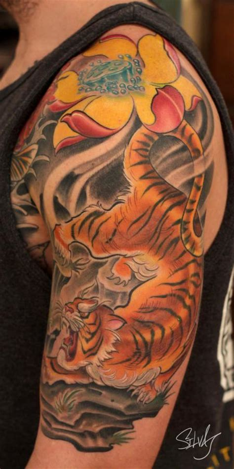 tiger lotus tattoo tiger lotus flower by marvin silva tattoos