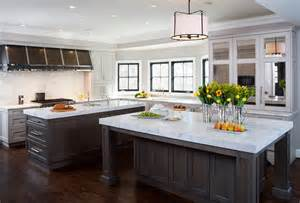 Double Kitchen Islands by Kitchen With Dual Islands Transitional Kitchen
