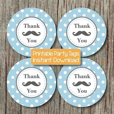 printable mustache gift tags mustache thank you tags baby shower by