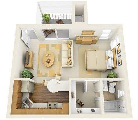 studio apartment 3d floor plans studio 3d floor plan tiny house decor pinterest
