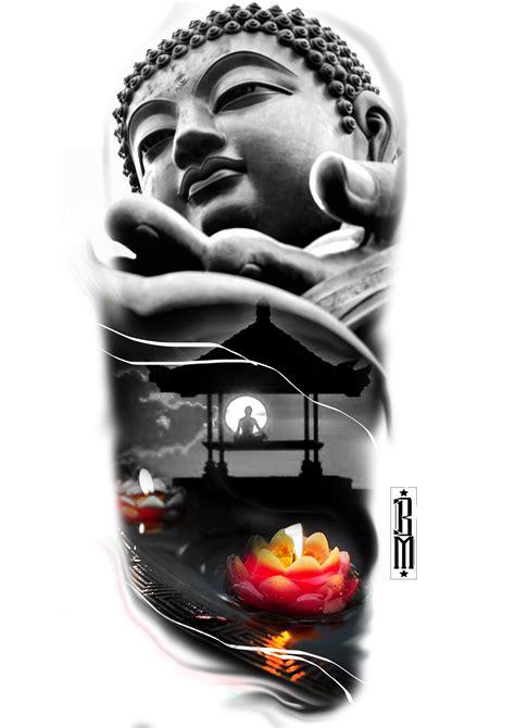 tattoo digital design buddha flower relaxing design meditation arm