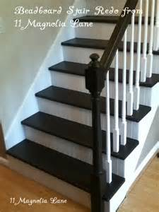 Quarter Round Window Treatments - stair redo with painted treads and beadboard risers 11 magnolia lane