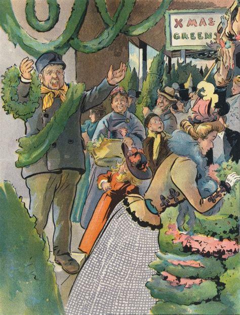 c j taylor christmas green market illustration circa 1897 by c j
