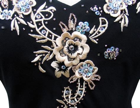 rm richards black embroidered applique handkerchief hem dress nwt ebay