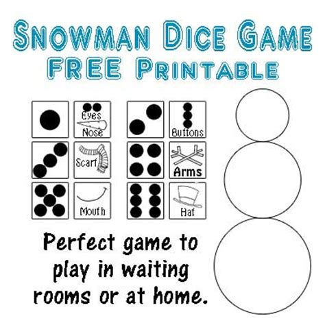 printable snowman dice game showing off you sugar bee crafts