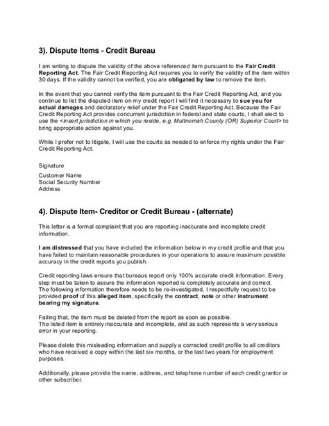 Dispute Credit Bureau Letter Credit Dispute Letters
