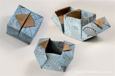 Make Paper Gift Box - origami hinged box tutorial paper kawaii