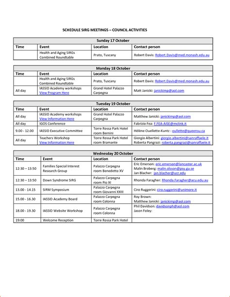 Calendar Itinerary Template 6 event schedule template bookletemplate org