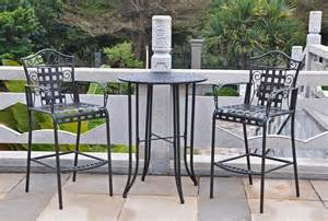 Outdoor Bistro Table Set Bar Height Bistro Set The Garden And Patio Home Guide