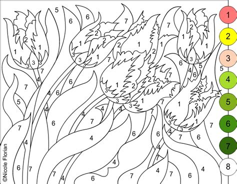 color by number flower coloring pages nicole s free coloring pages color by number flowers