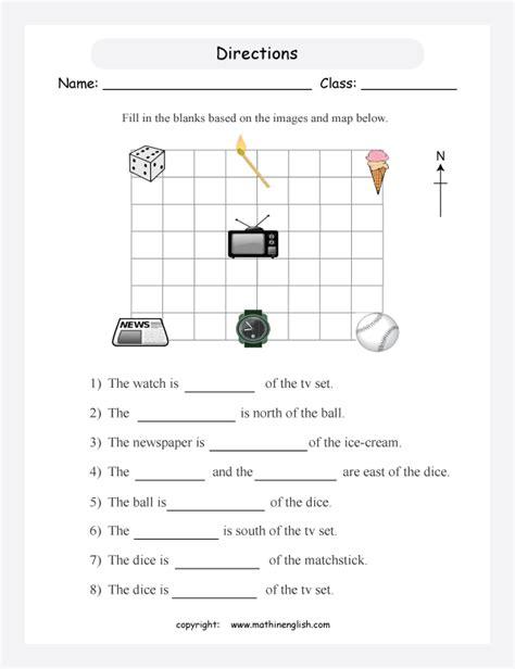 compass worksheet grade cardinal directions map worksheet images