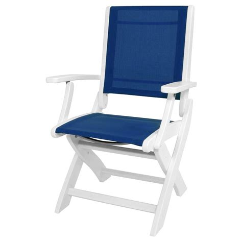 polywood white royal blue sling coastal patio folding