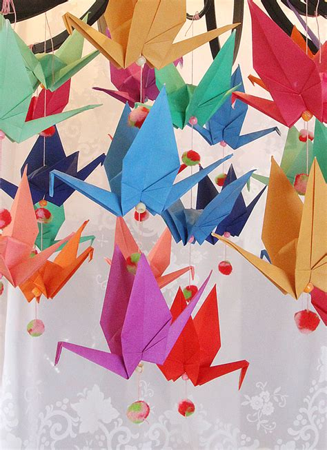 Folded Paper Decorations - origami crane mobile with pom poms anytime