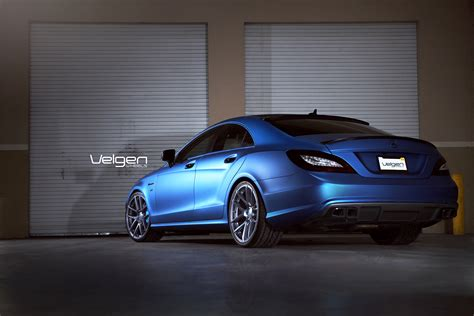 matte blue matte blue mercedes benz cls550 on velgen wheels vmb5
