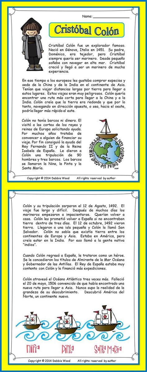 christopher columbus printable biography spanish language christopher columbus and grammar