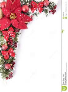 Christmas border with traditional decorations and poinsttia space for