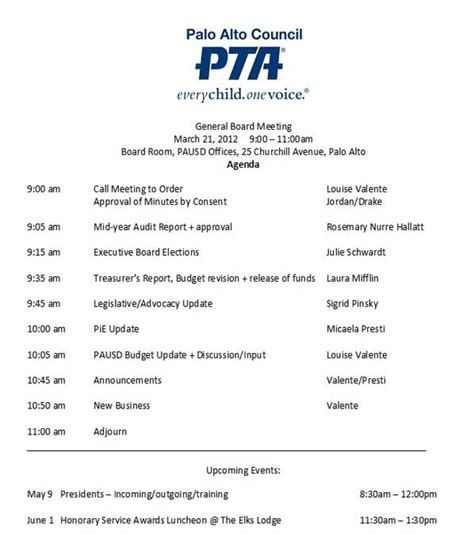 Pta Meeting Agenda Template Google Search Ptso Ideas Pinterest Pta Meeting Pta And School Parent Meeting Agenda Template
