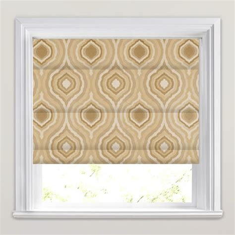brown patterned roman blinds metallic beige oyster cream brown retro patterned